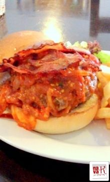 "The Hungry Hog (SS15, Subang Jaya) Pork burger with the ""burn baby burn"" sensation from the sauce."