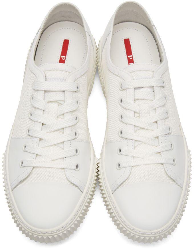 White Leather and Canvas Sneakers Prada kPyZsoBfu