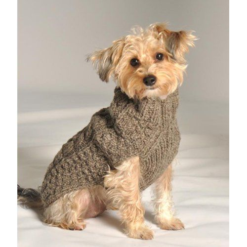 Chilly Dog Grey Cable Dog Sweater | from hayneedle.com