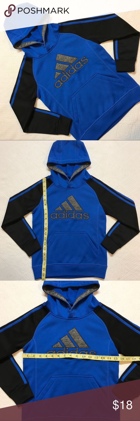 Boy's Adidas hoodie size small size 8 blue black S Adidas Logo athletic style hoodie, size small or 8 in boy's, but could certainly be unisex. Great condition, no flaws! adidas Shirts & Tops Sweatshirts & Hoodies