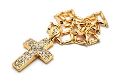 """Small Gold Iced Out Cross Pendant with a 24 Inch Box Chain Necklace JOTW. $14.95. Great Quality Jewelry!. 100% Satisfaction Guaranteed!. The approximate measurements of this pendant are 2.5"""" Height x 1.5"""" Length."""