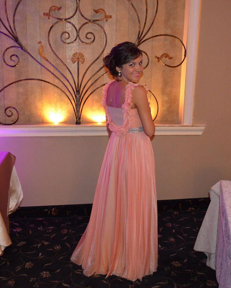 Laura - coral long evening dress