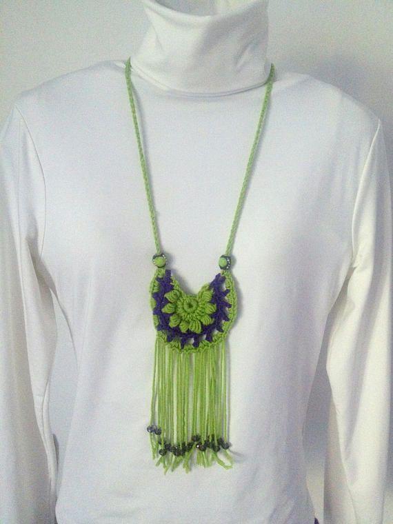 Crocher Jewellery necklace Crochet necklace handmade fiber