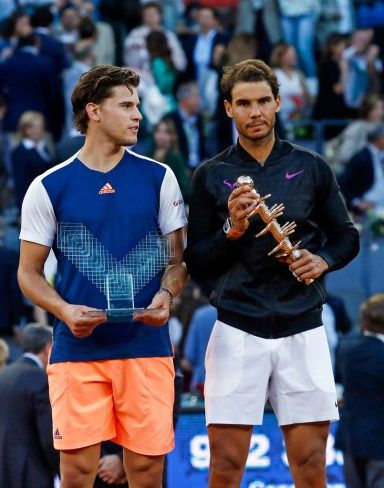 Rafael Nadal and Dominic Thiem trophy ceremony at Madrid Open 2017