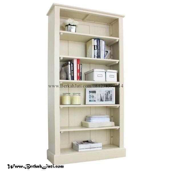 Jual Rak Buku Minimalis Cat Duco Cream Merupakan Produk Mebel Jepara Furniture Rak Buku dengan desain Minimalis Cat Duco Solid dengan Bahan Kayu Mahoni