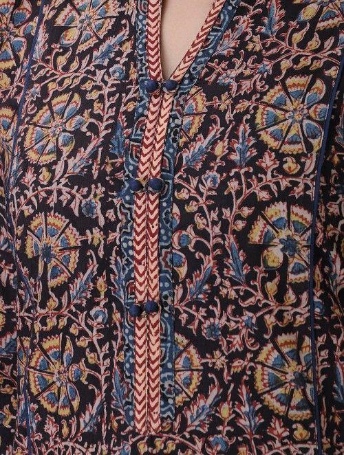 Black-Blue Kalamkari-printed Mandarin Collar Cotton Kurta
