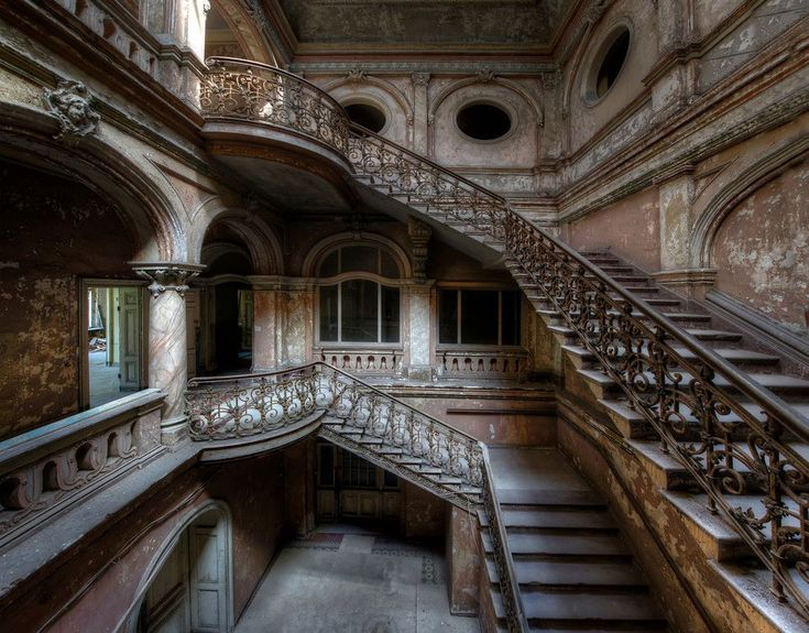Gorgeous staircase in abandoned castle. Let's reuse, reduce, recycle instead of letting vandals trash these places. ..rh
