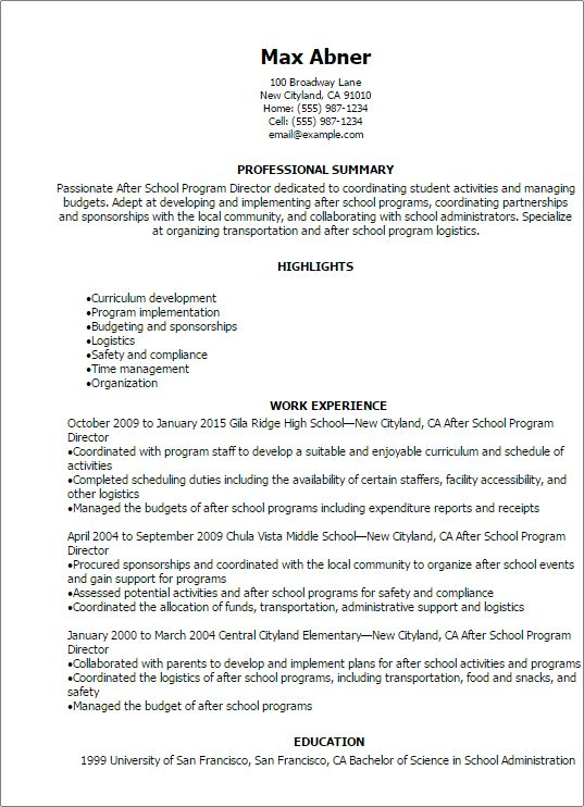 Professional After School Program Director Resume Templates to Showcase  Your Talent | MyPerfectResume