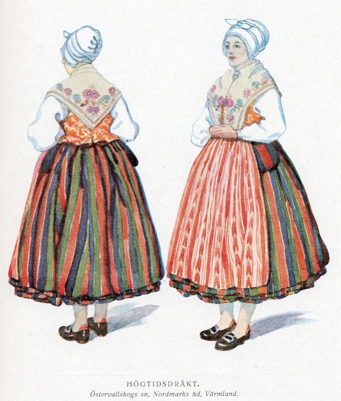 Traditional Värmland folk dress, Östervallskog.