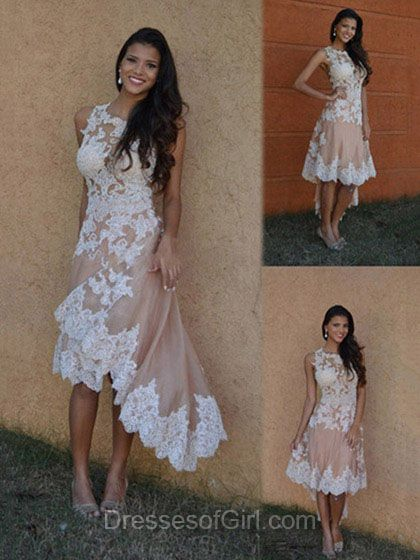New Arrival Asymmetrical Prom Dresses, Lace White Homecoming Dresses, Modest Party Dress, Girls Cocktail Dress, Cute Graduation Gowns