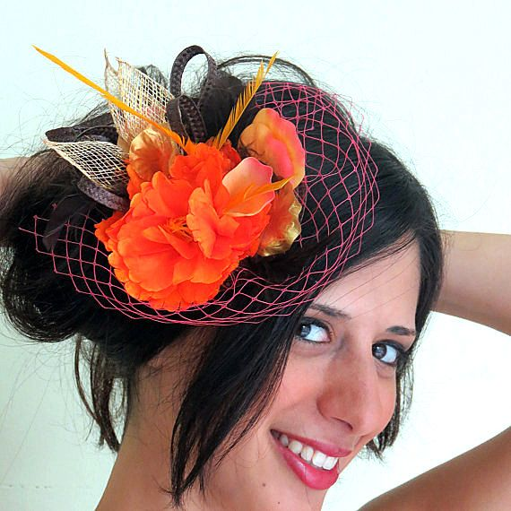 Hey, I found this really awesome Etsy listing at https://www.etsy.com/listing/156849552/orange-fascinator-veil-fascinator-hat