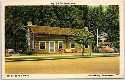 Gatlinburg TN Postcard IVY & BILL'S RESTAURANT Street View Log Cabin Linen 1940s   Collectibles, Postcards, US States, Cities & Towns   eBay!