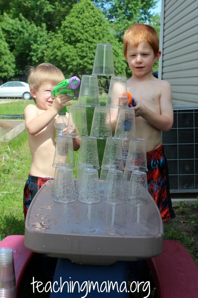 Squirting Cups with Water Guns - 10 Simple and Fun Summer Activities for Kids