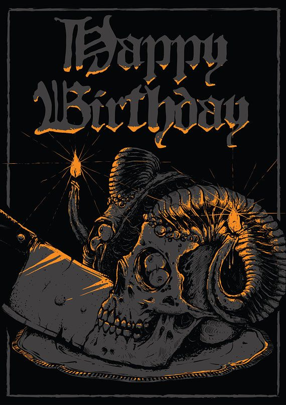 Happy Birthday Postcard Metalhead Rocker Skull Dark Goth Gothic