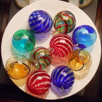Mouth blown Murano Glass Christmas balls with hand beaded glass ornament hanger