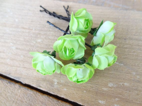 Apple Green  Rose Wedding Hair Pins Green Bridal Hair Pins