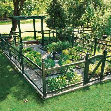 So with this garden idea, you just dig out a shallow footprint to set the garden in. Then you outline the perimeter with square posts. This will help create a base for the fence and also secure the vertical posts better. Wrap it in wire and you're good to go!