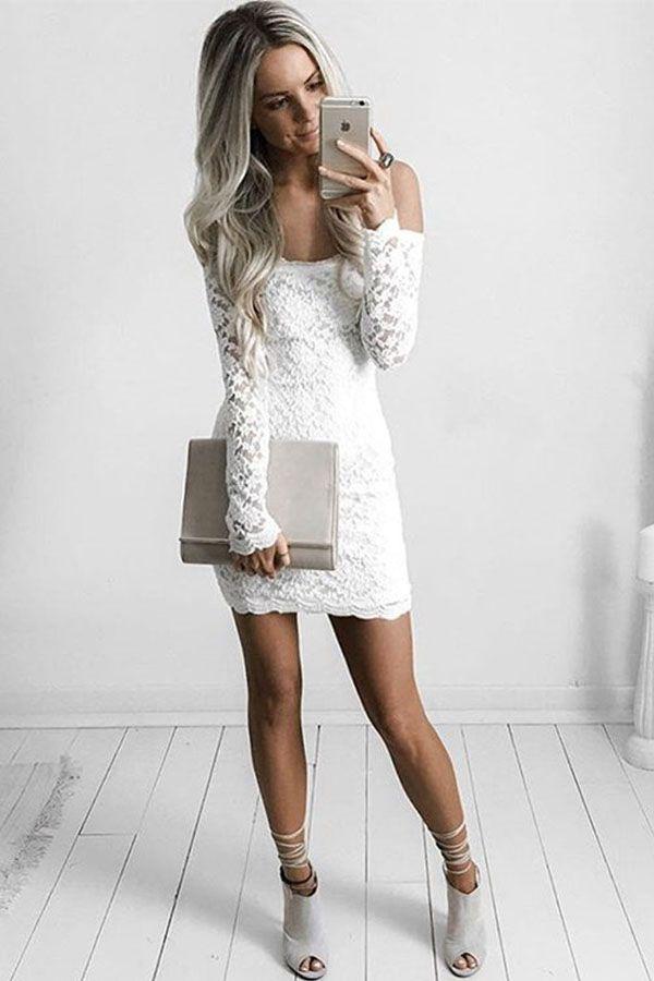 Sheath White Lace Short Tight Homecoming