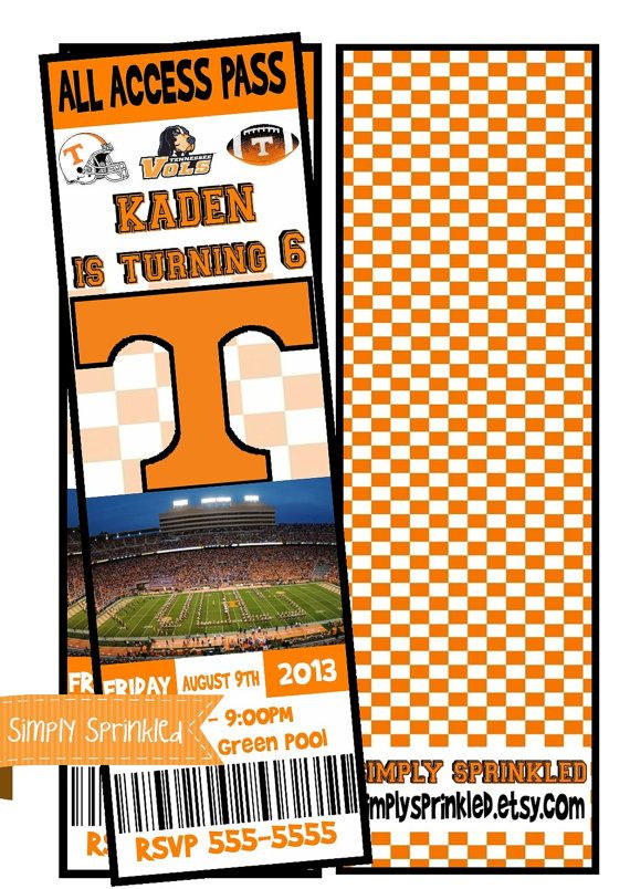 Tennessee VOLS Football Ticket Invitation  DIY by SimplySprinkled, $13.00