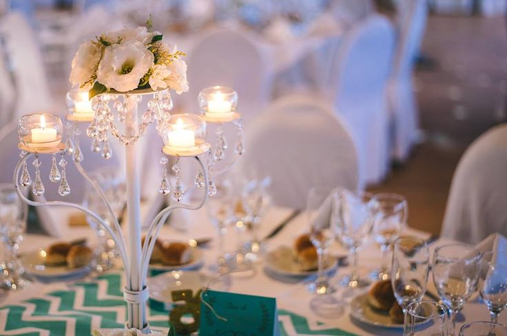 deco white and mint  candelabros