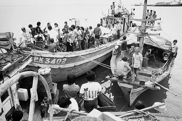 Vietnamese refugees on fishing vessels arrive in Darwin, 1977.