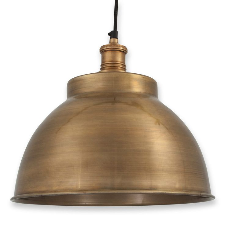 Large Vintage Brass Dome Pendant Light   NuCasa UK