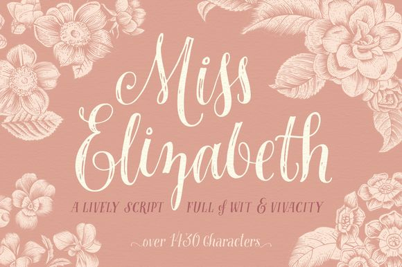 Miss Elizabeth Script by Ornaments of Grace on @creativemarket -- May I have the pleasure of introducing Miss Elizabeth- a lively script full of wit and vivacity, and just as charming, clever, and friendly as its namesake heroine from the classic Austen novel that inspired this work. Both elegant and powerful, Miss Elizabeth will add a rustic charm to your invitations, cards, home decor, branding, and more!