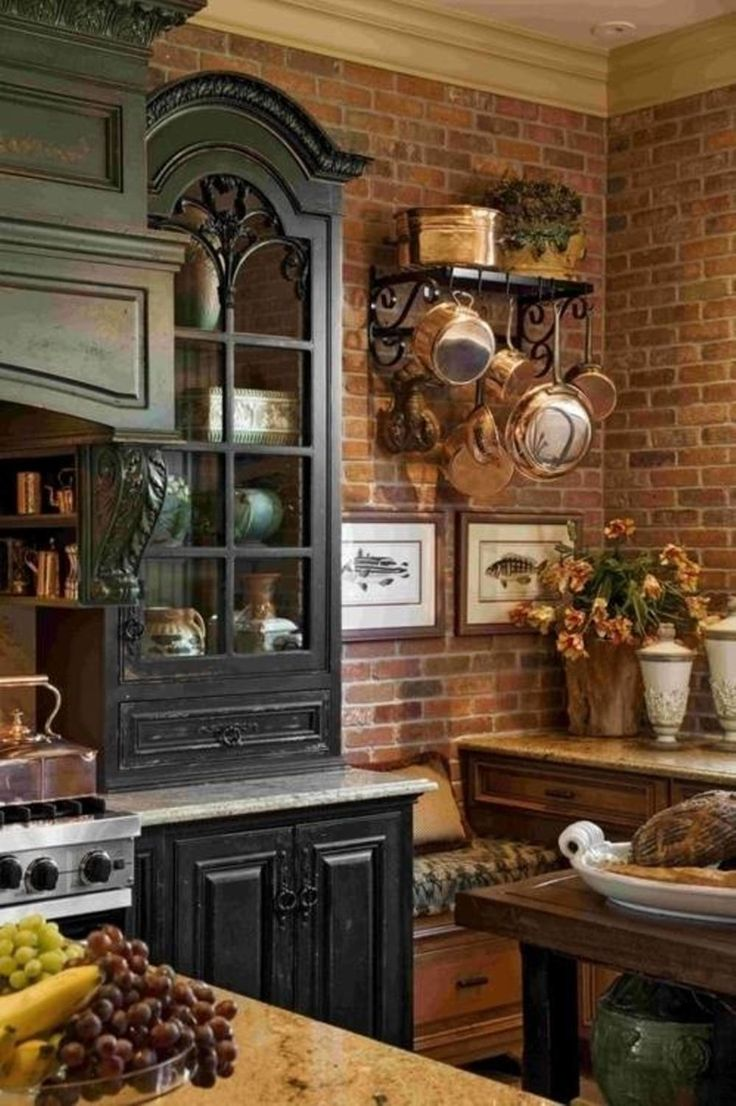 Kitchen, : Rustic Kitchen Interior Decoration With Dark Wooden Cupboard Combine With Brown Granite Tabletop And Brick Wall Complete With Hanging Rack For Kitchen Appliances