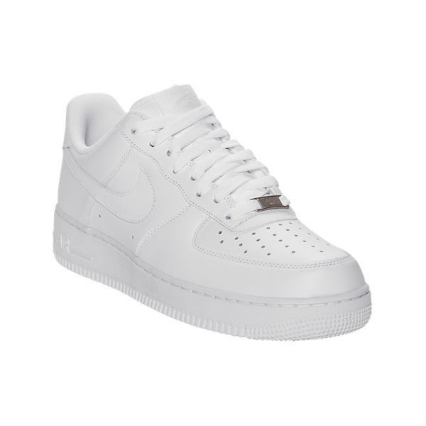 Nike Women's Air Force 1 Low Basketball Shoes, White ($90) ❤ liked on Polyvore featuring shoes, athletic shoes, white, leather shoes, nike, nike footwear, perforated leather shoes and low basketball shoes