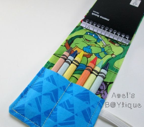 Notepad/Crayon Wallet - Notepad Wallet - Crayon Holder - Superheroe Crayon/Notebook Wallet