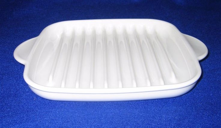 Corning Ware MR-3 Microwave Bacon Browning Roast Grill Rack Tray Dish Handles #Corning