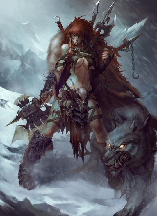 spassundspiele Barbarian - fantasy character concept by TONG YAN