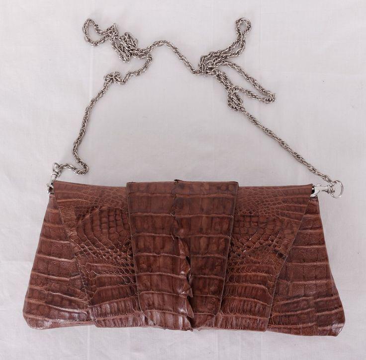 Клатч на цепочке из натуральной кожи крокодила коричневый. Размер 30x14x6cm #19938