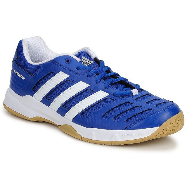 These are the Adidas Stabil Essence 10 shoes in yellow and blue.