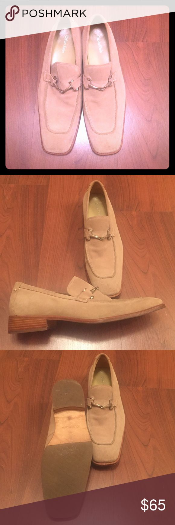 Mens Suede Loafers with Brass Hardware Buckle Mens almost brand new beautiful Calvin Klein suede loafers.  Stunning details with brass hardware buckle. Calvin Klein Shoes Loafers & Slip-Ons