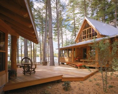 cabins: Ideas, Whitten Architects, House Design, Lakes House, Dreams, Guest House, Decks Design, Portland Maine, Logs Cabin