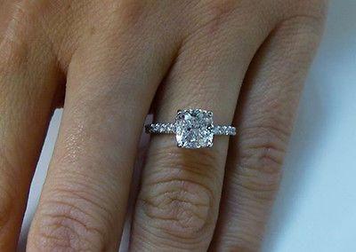 1 82 Ct Natural Cushion Cut Pave Diamond Engagement Ring Egl Usa