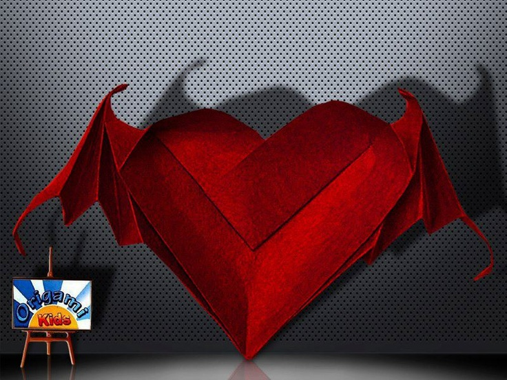 Bat Winged Heart by Riki Saito  Happy Halloween everybody! Another Origami Halloween Model. This Bat Winged Heart is a great gift for Halloween, also it will make great Halloween decorations!   Designer: Riki Saito  Folder and Photo: @Origami_Kids  Complexity: Medium. Time to fold 20 min. Folded from a classic Single Uncut square origami red paper, about 25 cm x 25 cm.  Folding Instruction: http://origami-blog.origami-kids.com/bat-winged-heart-by-riki-saito.htm