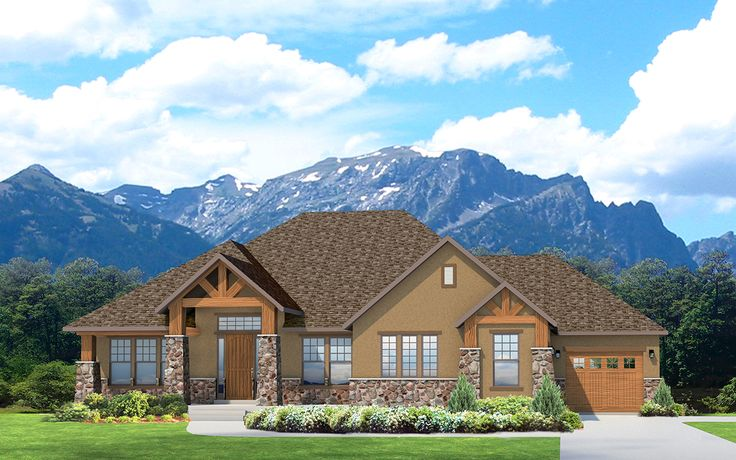 Casper - A mountain rustic style rambler house plan - Walker Home Design