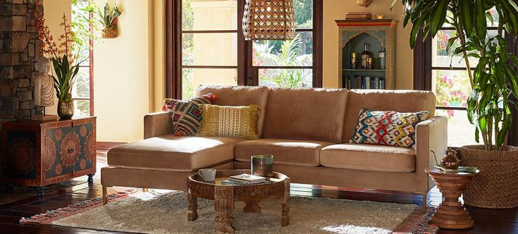 Global Rustic | Sectional sofa with chaise, Cheap living ...