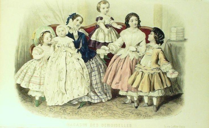 GRAVURE de MODE AUTHENTIQUE-C 11-MAGASIN DEMOISELLES-COSTUMES D ENFANT-1843