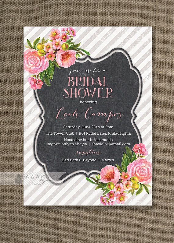 Pink Floral Bridal Shower Invitation Pink by digibuddhaPaperie, $20.00
