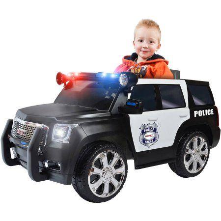 RollPlay 6V GMC Yukon Denali Police Truck Ride-On, Multicolor