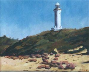 Lighthouse at Nora Head NSW - Oil on canvas - Artist John Beattie