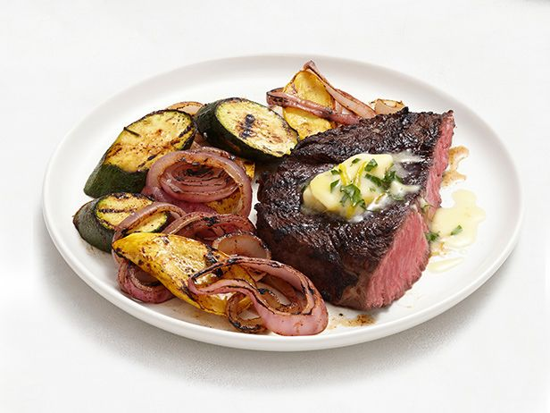 Grilled Steak and Vegetables With Lemon-Herb Butter Recipe