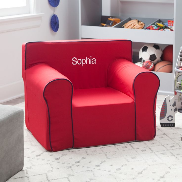 Here and There Personalized Kids Chair - Red Canvas