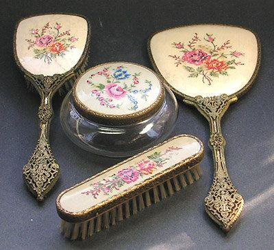 Petit Point Embroidered and Brass Dresser Set  www.parispanacheantiques.com