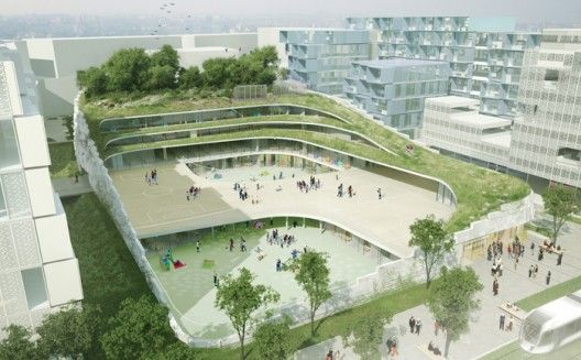 Primary School & Sport Hall / Chartier-Dalix architects #facade #escalonado #green