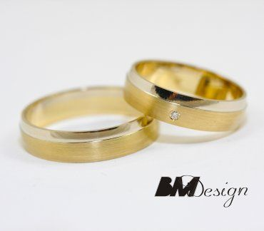 Obrączki ślubne Rzeszów dwukolorowe z kamieniami BM
