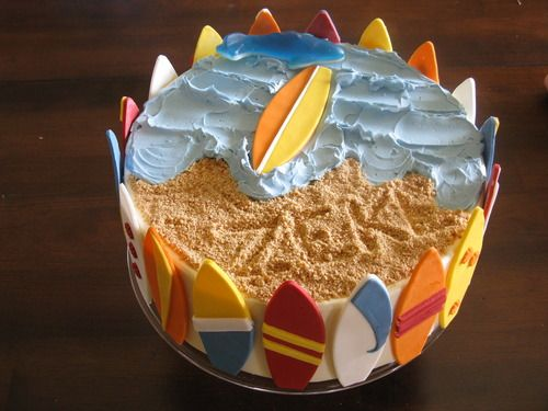"""Surfing themed cake with surfboards made with 5"""" surfboard cookie cutter.  http://www.amazon.com/gp/customer-media/permalink/mo3DQ2WICHSK1WG/B00533AZVI/ref=cm_sw_r_pi_ci_B00533AZVI"""